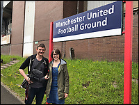 BNPS.co.uk (01202 558833)<br /> Pic: AllTheStations/BNPS<br /> <br /> At Manchester United Football Ground station.<br /> <br /> A pair of railway enthusiasts are on an epic train journey to become the first people to visit every station in Britain. <br /> <br /> Eccentrics Geoff Marshall, 44, and Vicki Pipe, 34, are three weeks into the adventure, which will see them visit 2,563 stations in just three months. <br /> <br /> The couple of seven years from London began in Penzance and have already visited 750 stations, covering the entire South, South West and much of London. <br /> <br /> After visiting an average of 30 stations per day their trip will conclude in August in Thurso, the British mainland's most northernmost town.