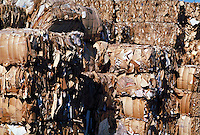 Bundled recycled cardboard. California.