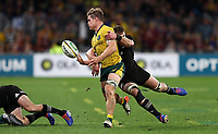 Michael Hooper of the Wallabies is tackled by Kieran Read of the All Blacks during the Rugby Championship match between Australia and New Zealand at Optus Stadium in Perth, Australia on August 10, 2019 . Photo: Gary Day / Frozen In Motion