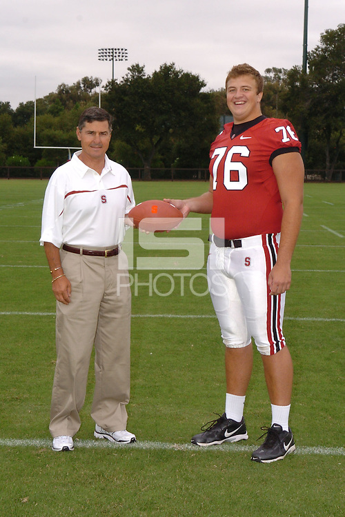 7 August 2006: Stanford Cardinal head coach Walt Harris and Ben Muth during Stanford Football's Team Photo Day at Stanford Football's Practice Field in Stanford, CA.