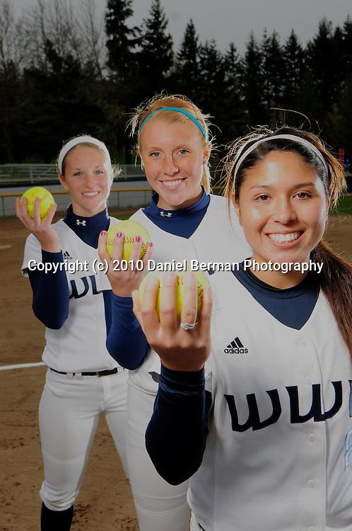 Portraits of Western Washington University pitchers Erika Hendron, Sarah McEnroe and Erika Quint Monday April 12, 2010.
