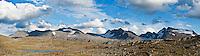 Tent in mountain landscape of Jotunheimen national park, Norway