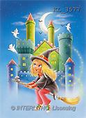 Interlitho, Lorella, REALISTIC ANIMALS, Halloween, paintings, girl, broomstick, castle(KL3577,#A#)