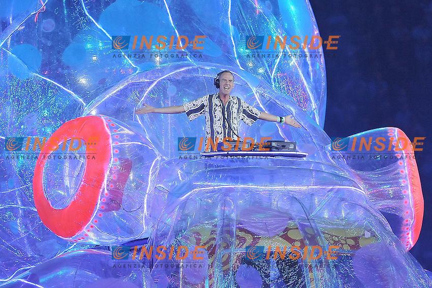 Dj Fatboy Slim.Londra 12/08/2012 Olympic Stadium.London 2012 Olympic Games Closing Ceremony.Olimpiadi Londra 2012 Cerimonia d chiusura.Foto Insidefoto Giovanni Minozzi.