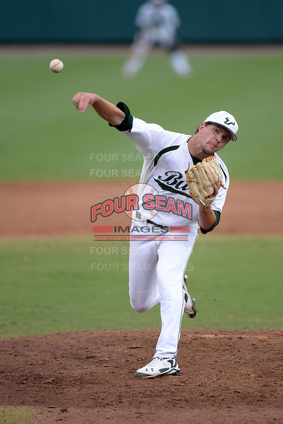 South Florida Bulls pitcher Jordan Strittmatter (10) during a game against the Florida State Seminoles on March 5, 2014 at Red McEwen Field in Tampa, Florida.  Florida State defeated South Florida 4-1.  (Mike Janes/Four Seam Images)