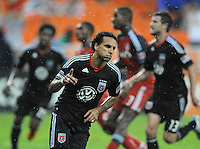 DC United forward Dwayne De Rosario (7) celebrates his third goal of the game from a penalty kick in the 88th minute of game. DC United tied Toronto FC 3-3 at RFK Stadium, Saturday August 6 , 2011.