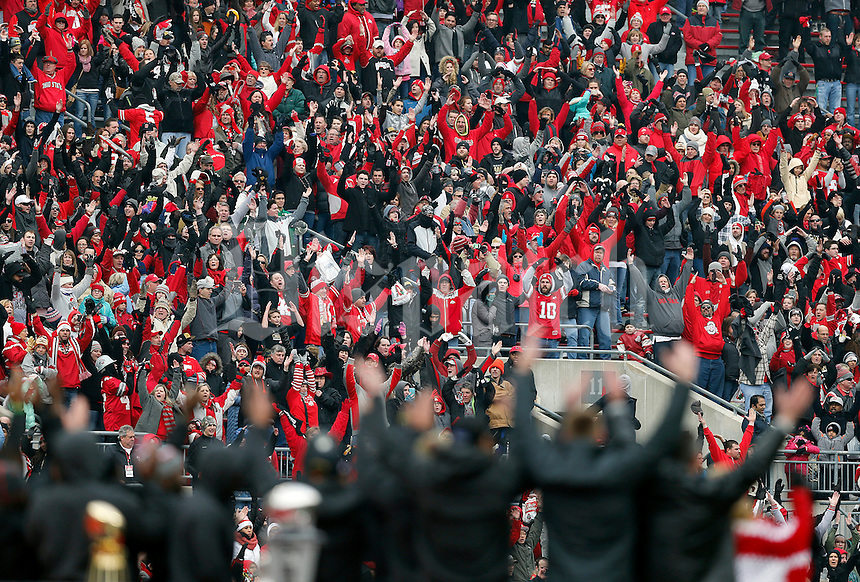 Fans participate in Carmen Ohio during the Ohio State football National Championship celebration at Ohio Stadium on Saturday, January 24, 2015. (Columbus Dispatch photo by Jonathan Quilter)