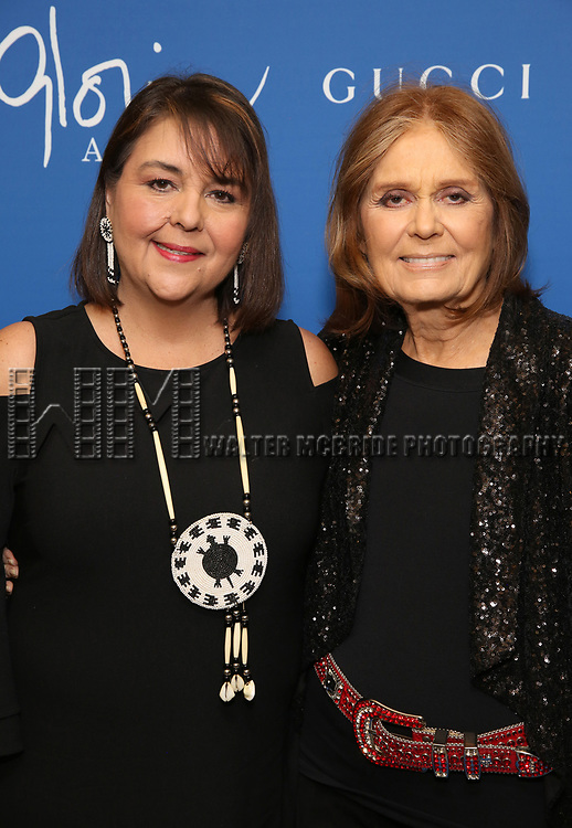 "Leslee Udwin and Gloria Steinem attend the Opening Night Performance of ""Gloria: A Life"" on October 18, 2018 at the Daryl Roth Theatre in New York City."