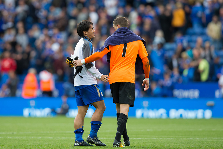 Leicester City's Shinji Okazaki jokes with Brighton &amp; Hove Albion's Matthew Ryan after the match<br /> <br /> Photographer Craig Mercer/CameraSport<br /> <br /> The Premier League - Leicester City v Brighton and Hove Albion - Saturday 19th August 2017 - King Power Stadium - Leicester<br /> <br /> World Copyright &copy; 2017 CameraSport. All rights reserved. 43 Linden Ave. Countesthorpe. Leicester. England. LE8 5PG - Tel: +44 (0) 116 277 4147 - admin@camerasport.com - www.camerasport.com