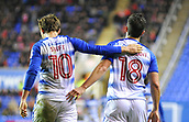 31st October 2017, Madejski Stadium, Reading, England; EFL Championship football, Reading versus Nottingham Forest; Yann Kermorgant of Reading coongratulates John Swift of Reading on scoring Reading's second goal