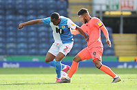Blackburn Rovers' Ryan Nyambe is tackled by Huddersfield Town's Elias Kachunga<br /> <br /> Photographer Kevin Barnes/CameraSport<br /> <br /> The EFL Sky Bet Championship - Blackburn Rovers v Huddersfield Town - Saturday 19th October 2019 - Ewood Park - Blackburn<br /> <br /> World Copyright © 2019 CameraSport. All rights reserved. 43 Linden Ave. Countesthorpe. Leicester. England. LE8 5PG - Tel: +44 (0) 116 277 4147 - admin@camerasport.com - www.camerasport.com