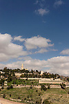 Israel, Jerusalem. Dormition Abbey on Mount Zion overlooking Hinnom valley