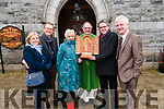 Presentation : World War Two Relic which was made by a prisoner of war being presented to Listowel parish  by Fionbar Walsh to Shane O'Donoghue, Chairman of the Listowel Pastoral Council after the 11.30 Mass in St. Mary's Church, Listowel on Sunday last. L-R: Liz & Gerry Griffin, Joan Morison, Canon Declan O'Connor, Shane O'Donoghue & Fionbar Walsh.