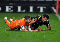 DURBAN, SOUTH AFRICA - JULY 14: Sebastian Cancelliere of the Jaguares and Kobus van Wyk of the Cell C Sharks during the Super Rugby match between Cell C Sharks and Jaguares at Jonsson Kings Park on July 14, 2018 in Durban, South Africa. Photo: Steve Haag / stevehaagsports.com