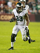 Philadelphia Eagles running back Josh Adams (33) carries the ball in the fourth quarter against the Washington Redskins at FedEx Field in Landover, Maryland on December 30, 2018.  The Eagles won the game 24 - 0 and their victory coupled with the Viking loss allowed them to advance to the NFC playoffs.<br /> Credit: Ron Sachs / CNP