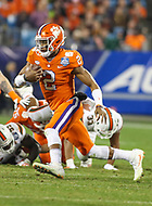 Charlotte, NC - December 2, 2017: Clemson Tigers quarterback Kelly Bryant (2) runs the ball during the ACC championship game between Miami and Clemson at Bank of America Stadium in Charlotte, NC.  (Photo by Elliott Brown/Media Images International) Clemson defeated Miami 38-3 for their third consecutive championship title.