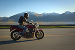 Justin Matley on his Suzuki motorcycle September 25, 2015 Turnagain Arm