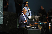 United States President Barack Obama addresses the 65th session of the UN General Assembly (UNGA) at United Nations headquarters in New York, New York, USA, Thursday, 23 September 2010.  The agenda of the 65th session of UNGA is for world leaders to reassert the United Nations role in alleviating poverty and increase efforts to improve global security and economic development..Credit: Michael Reynolds - Pool via CNP