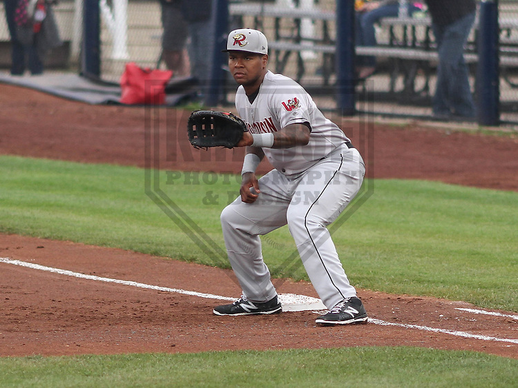 DAVENPORT - May 2015: Wisconsin Timber Rattlers first baseman David Denson (13) during a Midwest League game against the Quad Cities River Bandits on May 8th, 2015 at Modern Woodmen Park in Davenport, Iowa.  Quad Cities defeated Wisconsin 11-6.  (Brad Krause/Krause Sports Photography)