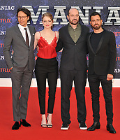 Cary Fukunaga, Emma Stone, Patrick Somerville and Justin Theroux at the &quot;Maniac&quot; UK TV premiere, BFI Southbank, Belvedere Road, London, England, UK, on Thursday 13 September 2018.<br /> CAP/CAN<br /> &copy;CAN/Capital Pictures