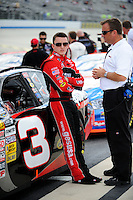 Sept 19, 2008; Dover, DE, USA; NASCAR Camping World Series East driver Austin Dillon (left) with father Mike Dillon during qualifying prior to the Sunoco 150 at Dover International Speedway. Mandatory Credit: Mark J. Rebilas-