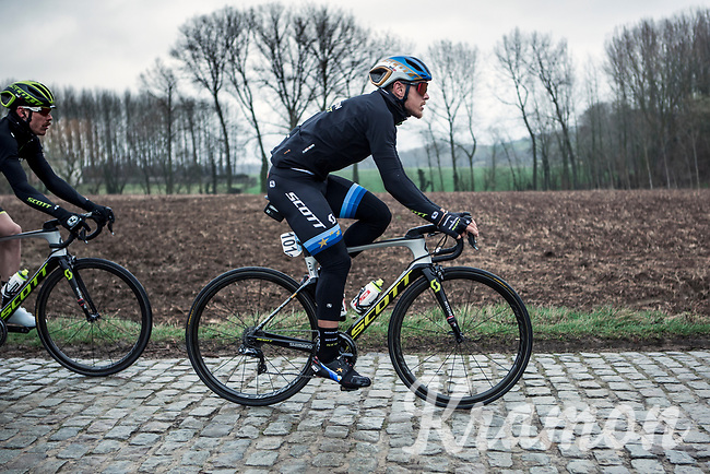 European Champion Matteo Trentin (ITA/Mitchelton Scott) riding the 'Haaghoek' cobbles. <br /> <br /> 74th Omloop Het Nieuwsblad 2019 (BEL)<br /> Gent – Ninove: 200km<br /> ©kramon