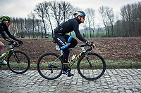 European Champion Matteo Trentin (ITA/Mitchelton Scott) riding the 'Haaghoek' cobbles. <br /> <br /> 74th Omloop Het Nieuwsblad 2019 (BEL)<br /> Gent – Ninove: 200km<br /> ©kramon