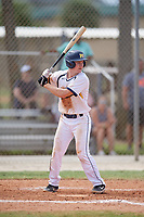 Keenan Taylor (6) during the WWBA World Championship at the Roger Dean Complex on October 13, 2019 in Jupiter, Florida.  Keenan Taylor attends St. Theodore Guerin High School in Westfield, IN and is committed to Butler.  (Mike Janes/Four Seam Images)