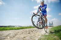 Jempy Drucker (LUX/Wanty-GroupeGobert) pulling a wheelie over the Roubaix cobbles<br /> <br /> 2014 Paris - Roubaix reconnaissance