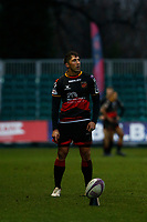 Gavin Henson of Dragons scores a conversion during the European Challenge Cup match between Dragons and Bordeaux Begles at Rodney Parade, Newport, Wales, UK. 20 January 2018