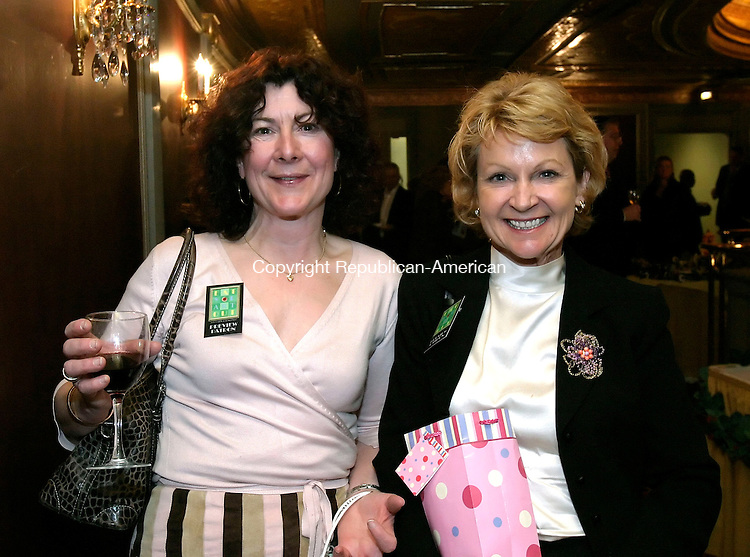 WATERBURY, CT, 27 MARCH 2006- 032706BZ14-<br /> From left-  Patti Faina, of Goshen, who works for the U.S. Postal Service; Terri Masters, of Wolcott, owner of Children's Village Daycare; <br /> <br /> during the &quot;Eat Your Art Out&quot; fundraiser for Main Street Waterbury at the Palace Theater in Waterbury Monday night. <br /> Jamison C. Bazinet Republican-American