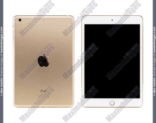 Gold Apple iPad Mini 3 tablet computer with blank screen, front and back view isolated with clipping path on white background.