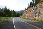 SMITHERS,  COLOURFUL ROCK ON ROADWAY NEAR SMITHERS, BRITISH COLUMBIA, CANADA