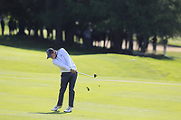 Matthew Fitzpatrick (ENG) plays his 2nd shot on the 17th hole during Thursday's Round 1 of the 2017 Omega European Masters held at Golf Club Crans-Sur-Sierre, Crans Montana, Switzerland. 7th September 2017.<br /> Picture: Eoin Clarke | Golffile<br /> <br /> <br /> All photos usage must carry mandatory copyright credit (&copy; Golffile | Eoin Clarke)