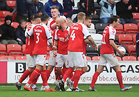 Fleetwood Town's Paddy Madden (centre) celebrates scoring his side's equalising goal to make the score 1-1 with team-mates<br /> <br /> Photographer Kevin Barnes/CameraSport<br /> <br /> The EFL Sky Bet Championship - Fleetwood Town v AFC Wimbledon - Saturday 10th August 2019 - Highbury Stadium - Fleetwood<br /> <br /> World Copyright © 2019 CameraSport. All rights reserved. 43 Linden Ave. Countesthorpe. Leicester. England. LE8 5PG - Tel: +44 (0) 116 277 4147 - admin@camerasport.com - www.camerasport.com
