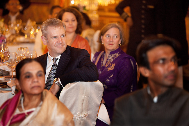 02 Feburary 2013, Hyderabad, India: Guests listening to  Dr Lachlan Strahan , Deputy High Commissioner to India speaking in the magnificent  dining room  ahead of the OzFest sponsored dinner featuring Australian chef Christine Manfield, of Universal restaurant, Sydney  who cooked a five course meal for guests at the Falaknuma Palace at Hyderabad , India. The dinner also featured Australian author John Zubrzycki who read excerps from his latest novel The Mysterious Mr. Jacob to the crowd of Australian and Indian dignitaries and businessmen. Picture by Graham Crouch