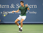 August 16,2018:   Novak Djokovic (SRB) split sets with Grigor Dimitrov (BUL) before the rain delay at the Western & Southern Open being played at Lindner Family Tennis Center in Mason, Ohio.  ©Leslie Billman/Tennisclix/CSM