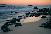 Moonset over Kahoolawe, Molokini and Lanai<br />   from Oneloa Beach<br /> Ahihi Bay<br /> Island of Maui, Hawaii