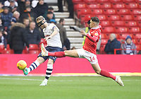 Preston North End's Tom Clarke in action with Nottingham Forest's Matty Cash<br /> <br /> Photographer Mick Walker/CameraSport<br /> <br /> The EFL Sky Bet Championship - Nottingham Forest v Preston North End - Saturday 8th December 2018 - The City Ground - Nottingham<br /> <br /> World Copyright © 2018 CameraSport. All rights reserved. 43 Linden Ave. Countesthorpe. Leicester. England. LE8 5PG - Tel: +44 (0) 116 277 4147 - admin@camerasport.com - www.camerasport.com