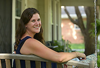 NWA Democrat-Gazette/BEN GOFF @NWABENGOFF<br /> Bethany Stephens poses for a photo on Thursday July 7, 2016 in her favorite personal space, the front porch of her home in Rogers.