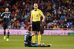 Real Sociedad's Iñigo Martinez talking with the referee during La Liga match between Real Madrid and Real Sociedad at Santiago Bernabeu Stadium in Madrid, Spain. January 29, 2017. (ALTERPHOTOS/BorjaB.Hojas)