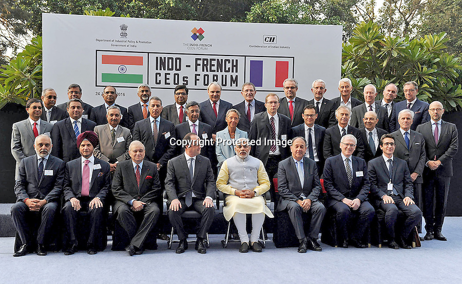 24.01.2016; Chandigarh, India: PRESIDENT HOLLANDE AND INDIAN PM MODI<br /> attend the Indo-French CEO's Forum, in Chandigarh<br /> The French President in the guest of honour for the Republic Day celebrations on the 26th of January 2016.<br /> Mandatory Credit Photos: &copy;NEWSPIX INTERNATIONAL<br /> <br /> PHOTO CREDIT MANDATORY!!: NEWSPIX INTERNATIONAL(Failure to credit will incur a surcharge of 100% of reproduction fees)<br /> <br /> IMMEDIATE CONFIRMATION OF USAGE REQUIRED:<br /> Newspix International, 31 Chinnery Hill, Bishop's Stortford, ENGLAND CM23 3PS<br /> Tel:+441279 324672  ; Fax: +441279656877<br /> &quot;All fees payable to &quot;Newspix International&quot;<br /> e-mail: info@newspixinternational.co.uk