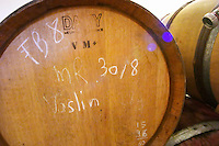 Vaslin (wine from the Vaslin press). Domaine Le Conte des Floris, Caux. Pezenas region. Languedoc. Barrel cellar. France. Europe.