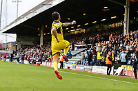 Agon Mehmeti of Oxford United celebrates after he scores his team's fourth goal of the game to make the score 1-4 during the Sky Bet League 1 match between Peterborough and Oxford United at the ABAX Stadium, London Road, Peterborough, England on 30 September 2017. Photo by David Horn.