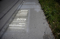 Ronde Van Vlaanderen Straat street art giving you the previous RVV champions<br /> <br /> cycling hotspots & impressions in the Vlaamse Ardennen (Flemish Ardennes) <br /> <br /> Cycling In Flanders <br /> Flanders Tourist Board<br /> <br /> ©kramon