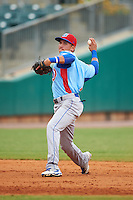 Tennessee Smokies shortstop Bryant Flete (7) throws to first during a game against the Montgomery Biscuits on May 25, 2015 at Riverwalk Stadium in Montgomery, Alabama.  Tennessee defeated Montgomery 6-3 as the game was called after eight innings due to rain.  (Mike Janes/Four Seam Images)
