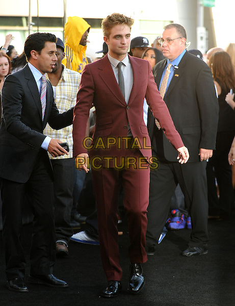ROBERT PATTINSON.The premiere of The Twilight Saga : Eclipse held at the Los Angeles Film Festival at Nokia Live in Los Angeles, California, USA..June 24th, 2010    .full length red maroon burgundy suit black tie grey gray shirt rob .CAP/RKE/DVS.©DVS/RockinExposures/Capital Pictures.