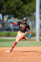 Josefrailin Alcantara (6) during the Dominican Prospect League Elite Florida Event at Pompano Beach Baseball Park on October 15, 2019 in Pompano beach, Florida.  (Mike Janes/Four Seam Images)
