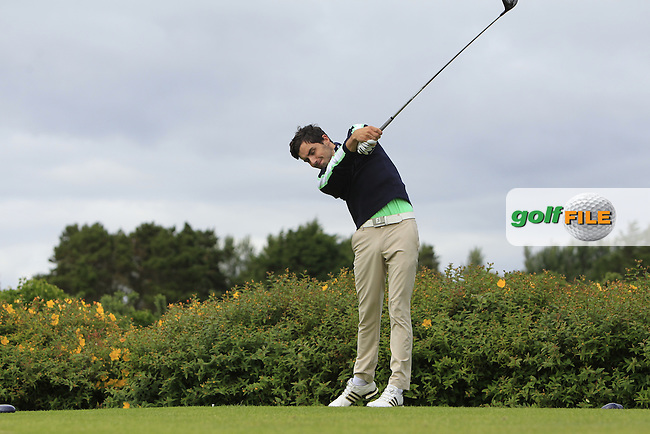 Cillian Moloney (Fota Island) on the 18th tee during R1 of the 2016 Connacht U18 Boys Open, played at Galway Golf Club, Galway, Galway, Ireland. 05/07/2016. <br /> Picture: Thos Caffrey | Golffile<br /> <br /> All photos usage must carry mandatory copyright credit   (&copy; Golffile | Thos Caffrey)