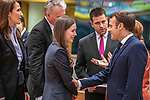 BRUSSELS - BELGIUM - 12 December 2019 -- EU-Summit with Heads of State - European Council meeting - Presidency of Finland. -- Sanna Marin (2nd le), Prime Minister of Finland during her first EU-Summit as PM with Sophie Wilmès, Prime Minister of Belgium, Jüri Ratas, PM of Estonia and Emmanuel Macron President of France. -- PHOTO: Juha ROININEN / EUP-IMAGES